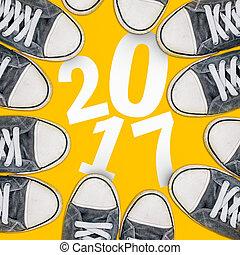 novo, 2017, sneakers, acima, feliz