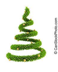 novo, 3d, simbólico, árvore, ano