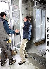 novo, ajustamento, homens, janela, dois