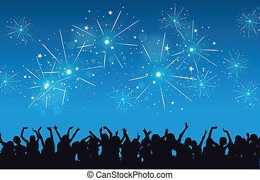 Novo, ano, celebração