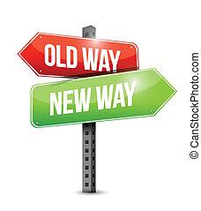 novo, antigas, maneira, ilustração, sinal