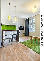 novo, apartamento, espaço aberto