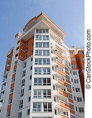 novo, apartamento, modernos, edifício.