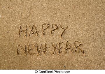 novo, areia, feliz, mensagem, ano