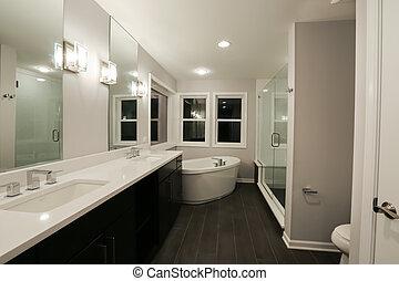 novo, banheiro, lar