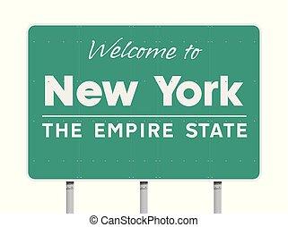 novo, bem-vindo, york, sinal estrada