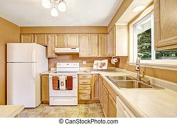 novo, branca, gabinetes, eletrodomésticos, cozinha