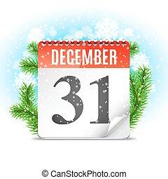 novo, calendário, dia, ano