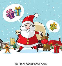 novo, cartão natal, ano