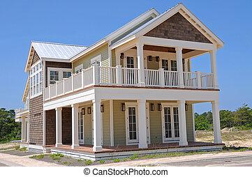 novo, casa praia, em, construção