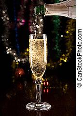 novo, champanhe, cartão, ano
