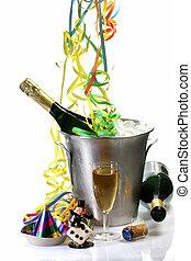 novo, champanhe, véspera, anos