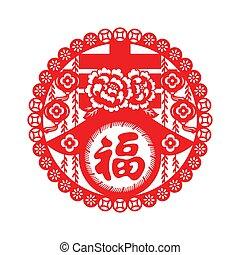 novo, chinês, ano, ornamento
