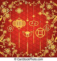 novo, chinês, fundo, ano