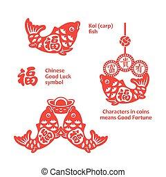 novo, chinês, ornamentos, ano