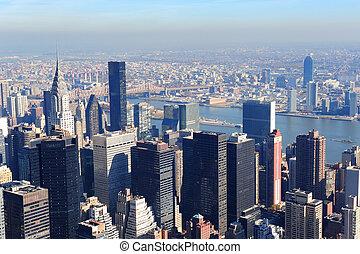 novo, cidade, arranha-céus, york