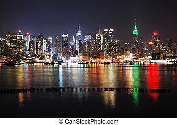 novo, cidade, reflexões, york