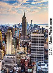 novo, cidade, york, anoitecer
