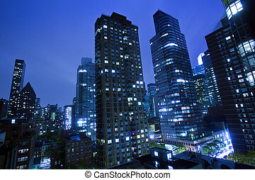 novo, cidade, york, noturna