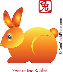 novo, coelho zodíaco, chinês, ano