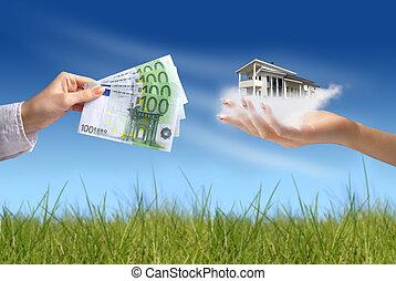 novo, conceito, casa compra