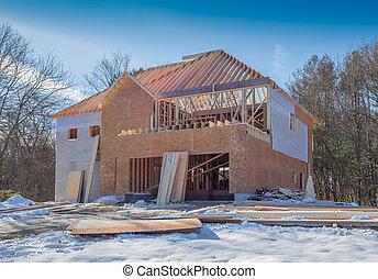 novo, construção, casa
