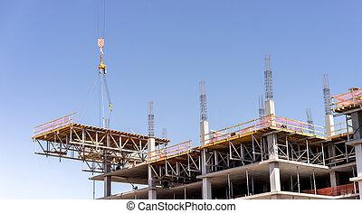 novo, construção, guindaste, levantamento, novo