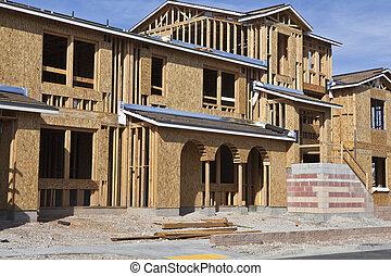 novo, construção, lar