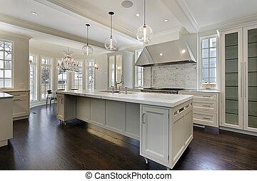 novo, construção, modernos, cozinha, lar