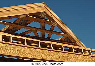 novo, construção, telhado, lar