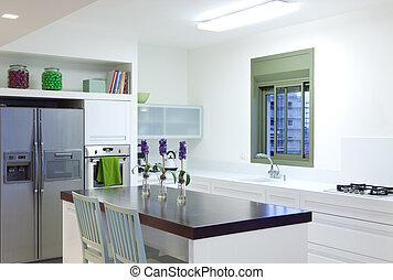 novo, cozinha, em, um, modernos, lar