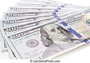 novo, dólares, cem, pilha, um