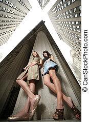 novo, dois, york, cidade, meninas