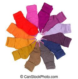 novo, empilhado, colorido, meias, ao redor