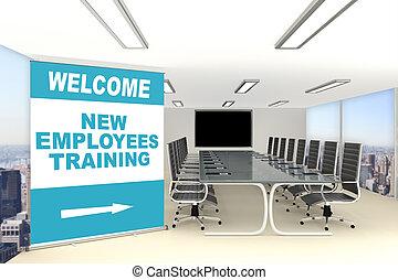 novo, empregados, conceito, treinamento