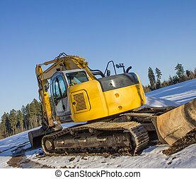 novo, escavador, em, a, neve