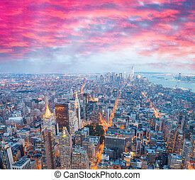 novo, espantoso, noturna, skyline, york