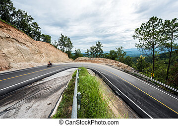 novo, estrada, ao redor, curvas