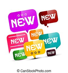 novo, etiquetas, -, etiquetas, jogo, isolado, branco, experiência., vector.