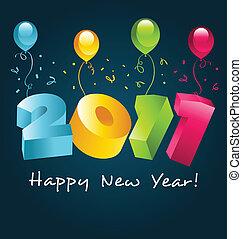 novo, feliz, 2011, coloridos, ano