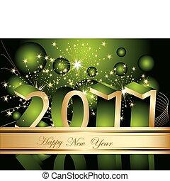novo, feliz, 2011, fundo, ano