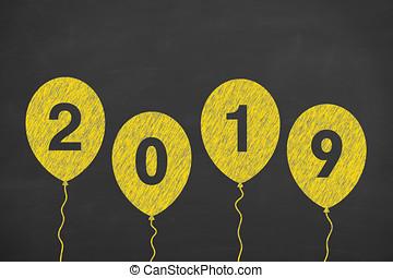 novo, feliz, 2019, ano