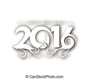 novo, feliz, ano, 2016