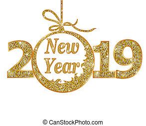 novo, feliz, ano, 2019