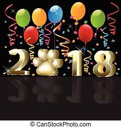 novo, feliz, balões, 2018, ano