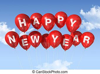 novo, feliz, balões, ano
