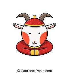 novo, feliz, cabra, chinês, ano