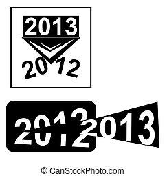 novo, feliz, desenho, 2013, ano
