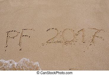 novo, feliz, praia, ano