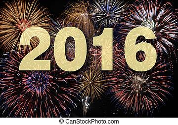 novo, fogo artifício, 2016, feliz, ano